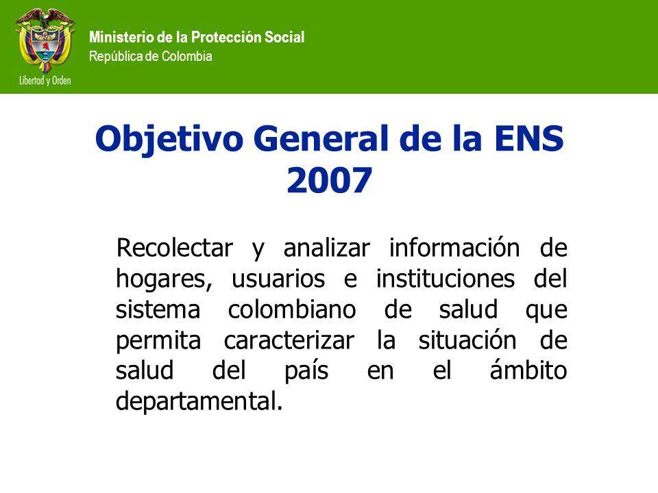 Ministerio de la Protección Social República de Colombia Recolectar y analizar información de hogares, usuarios e instituciones del sistema colombiano