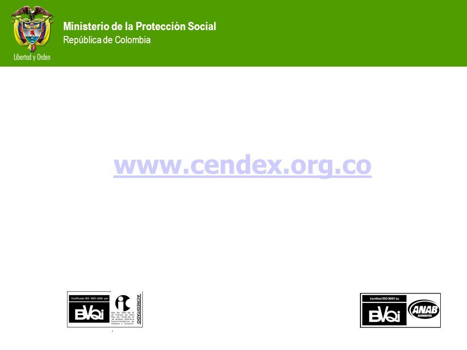 Ministerio de la Protección Social República de Colombia www.cendex.org.co