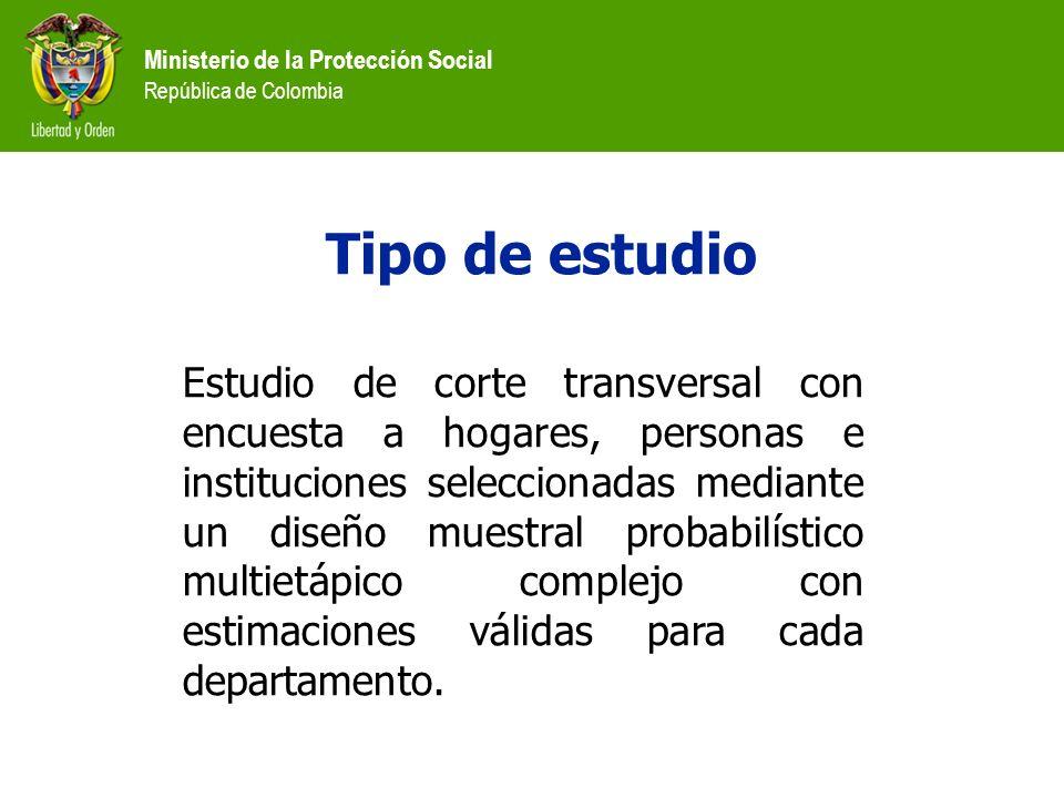 Ministerio de la Protección Social República de Colombia Tipo de estudio Estudio de corte transversal con encuesta a hogares, personas e instituciones