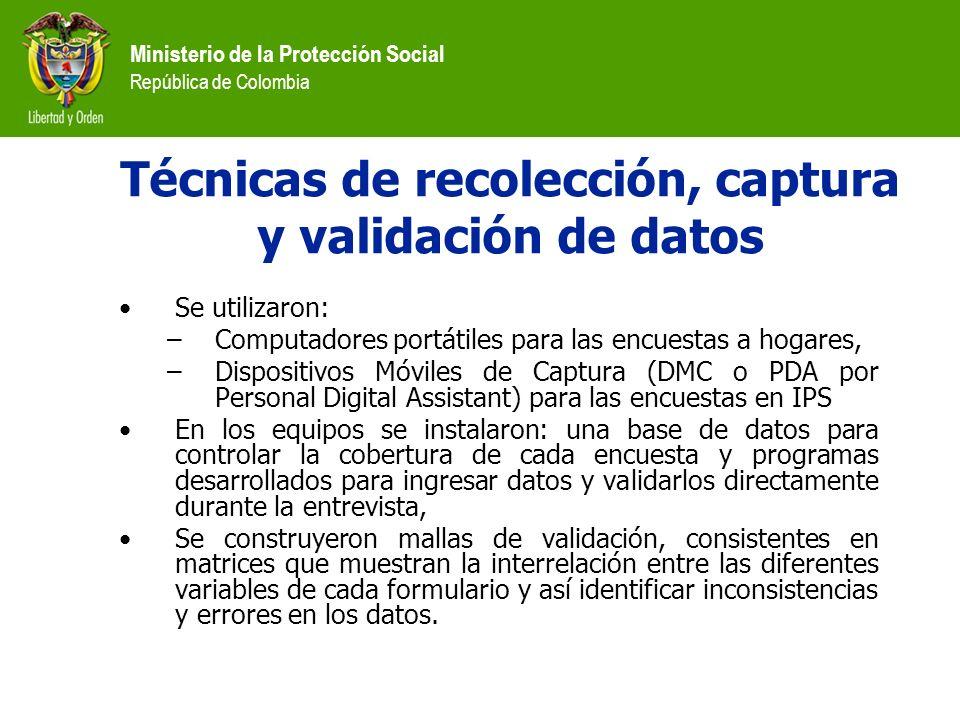 Ministerio de la Protección Social República de Colombia Técnicas de recolección, captura y validación de datos Se utilizaron: –Computadores portátile
