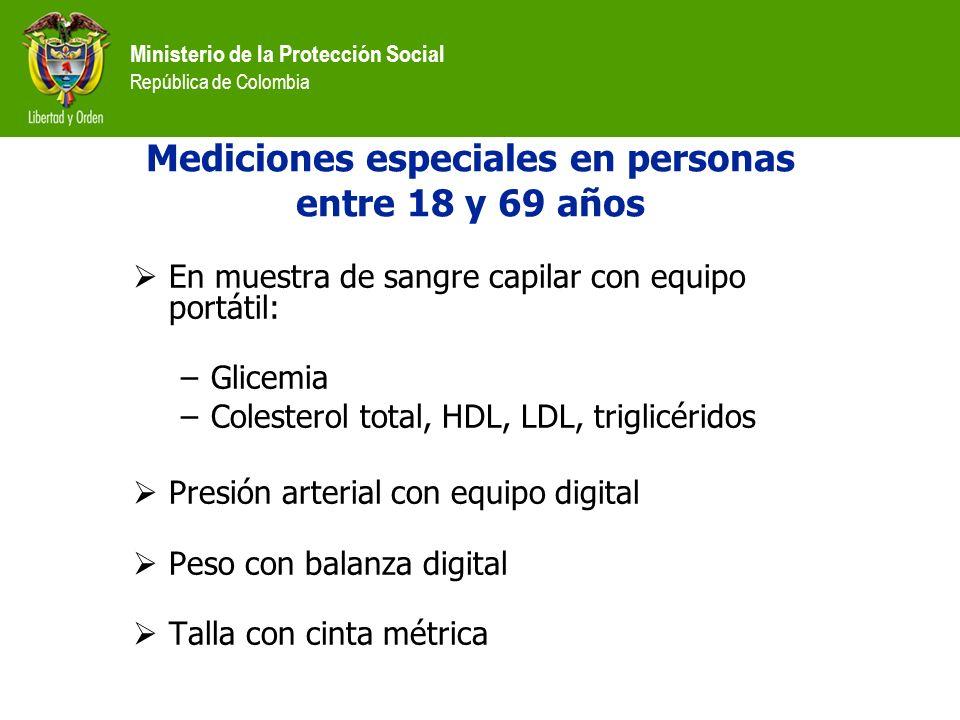 Ministerio de la Protección Social República de Colombia Mediciones especiales en personas entre 18 y 69 años En muestra de sangre capilar con equipo