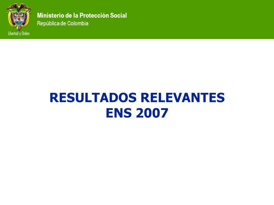 Ministerio de la Protección Social República de Colombia RESULTADOS RELEVANTES ENS 2007