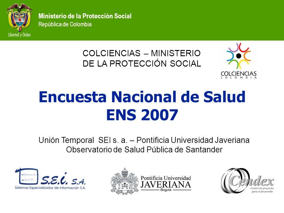 Ministerio de la Protección Social República de Colombia DEPARTAMENTOS EDAD Masculino Femenino Total NormalAnormalNormalAnormalNormalAnormal AMAZONAS50 - 59100,0%0,0%100,0%0,0%100,0%0,0% ANTIOQUIA50 - 5989,4%10,6%80,9%19,1%84,8%15,2% ATLANTICO50 - 5995,5%4,5%95,8%4,2%95,7%4,3% BOGOTA50 - 5978,3%21,7%78,1%21,9%78,2%21,8% CHOCO50 - 59100,0%0,0%99,0%1,0%99,2%0,8% CUNDINAMARCA50 - 5977,2%22,8%73,8%26,2%75,2%24,8% SANTANDER50 - 59100,0%0,0%80,8%19,2%86,4%13,6% VALLE DEL CAUCA50 - 5979,2%20,8%89,9%10,1%85,8%14,2% COLOMBIA 50 - 5985,4%14,6%84,5%15,5%84,9%15,1% Total92,0%8,0%92,3%7,7%92,2%7,8% Prevalencia de hipercolesterolemia en personas de 50-59 años según sexo y departamentos seleccionados