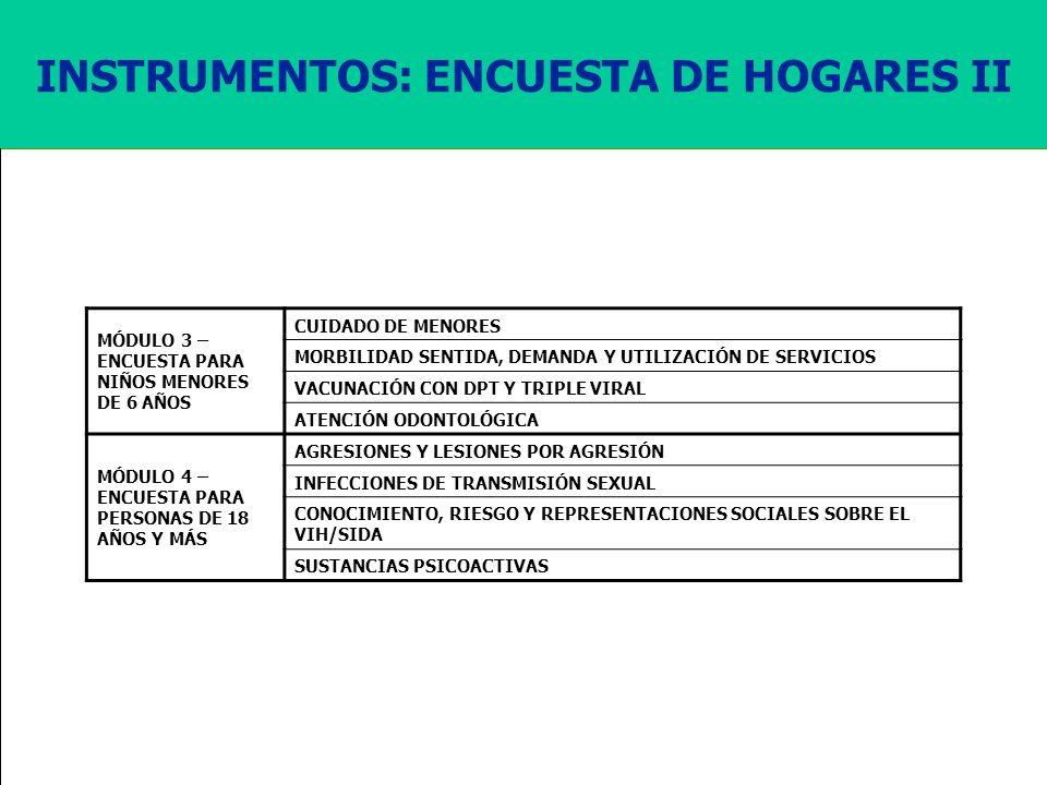 Ministerio de la Protección Social República de Colombia INSTRUMENTOS: ENCUESTA DE HOGARES II MÓDULO 3 – ENCUESTA PARA NIÑOS MENORES DE 6 AÑOS CUIDADO