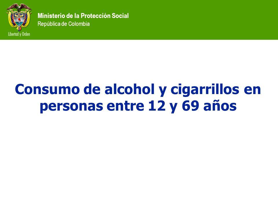 Ministerio de la Protección Social República de Colombia Consumo de alcohol y cigarrillos en personas entre 12 y 69 años