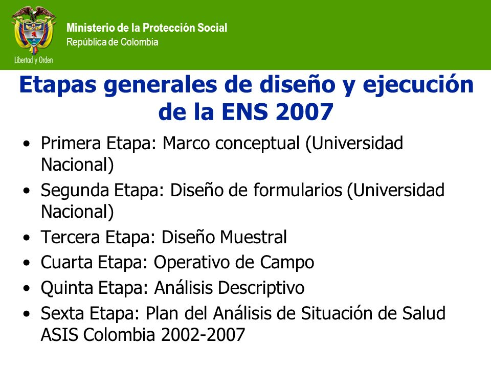 Ministerio de la Protección Social República de Colombia Prevalencia de hipertensión arterial en personas de 18-69 años según edad en el ámbito nacional Edad HombresMujeresTotal NormalHipertensosNormalHipertensosNormalHipertensos 18 - 2986,2%13,8%95,8%4,2%91,7%8,3% 30 - 3976,2%23,8%88,7%11,3%83,5%16,5% 40 - 4970,6%29,4%79,3%20,7%75,5%24,5% 50 - 5960,0%40,0%61,1%38,9%60,6%39,4% 60 - 6940,5%59,5%41,6%58,4%41,1%58,9% Total72,2%27,8%80,9%19,1%77,2%22,8%