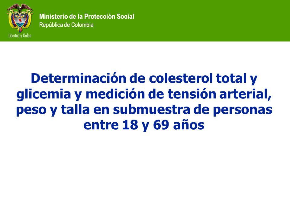 Ministerio de la Protección Social República de Colombia Determinación de colesterol total y glicemia y medición de tensión arterial, peso y talla en