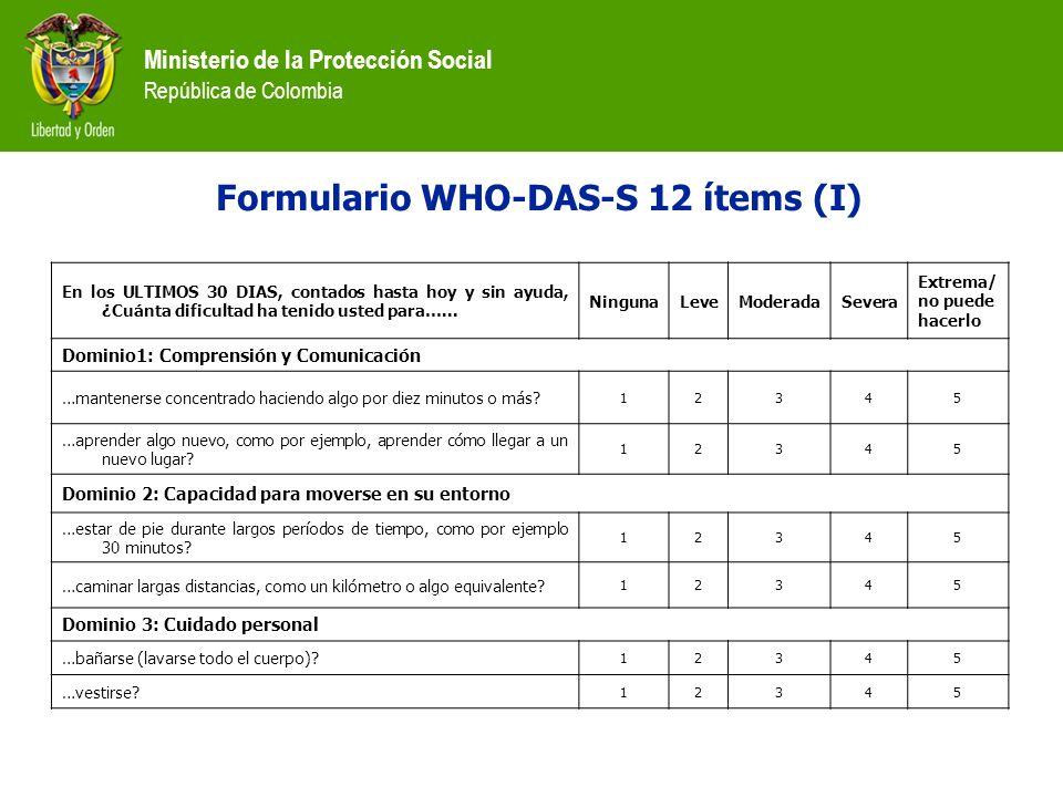 Ministerio de la Protección Social República de Colombia Formulario WHO-DAS-S 12 ítems (I) En los ULTIMOS 30 DIAS, contados hasta hoy y sin ayuda, ¿Cu