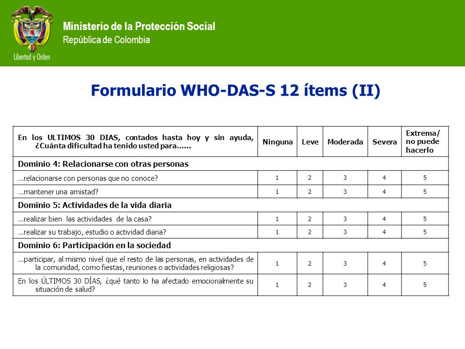 Ministerio de la Protección Social República de Colombia Formulario WHO-DAS-S 12 ítems (II) En los ULTIMOS 30 DIAS, contados hasta hoy y sin ayuda, ¿C