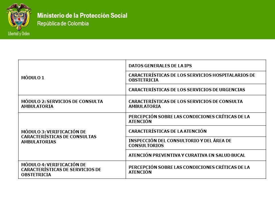 Ministerio de la Protección Social República de Colombia MÓDULO 1 DATOS GENERALES DE LA IPS CARACTERÍSTICAS DE LOS SERVICIOS HOSPITALARIOS DE OBSTETRI