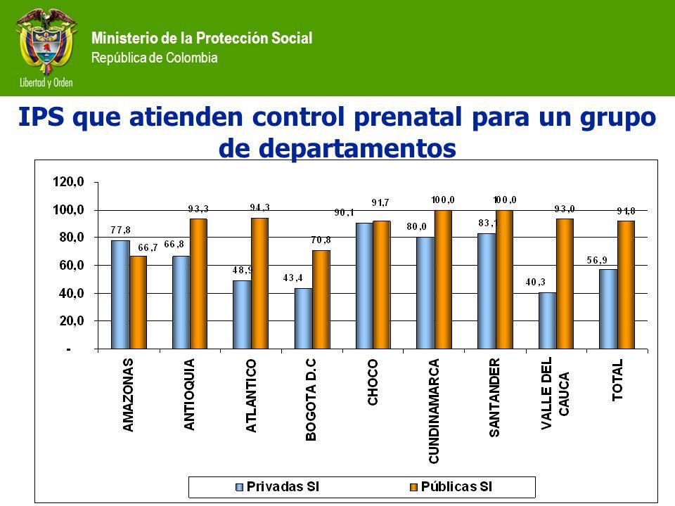 Ministerio de la Protección Social República de Colombia IPS que atienden control prenatal para un grupo de departamentos