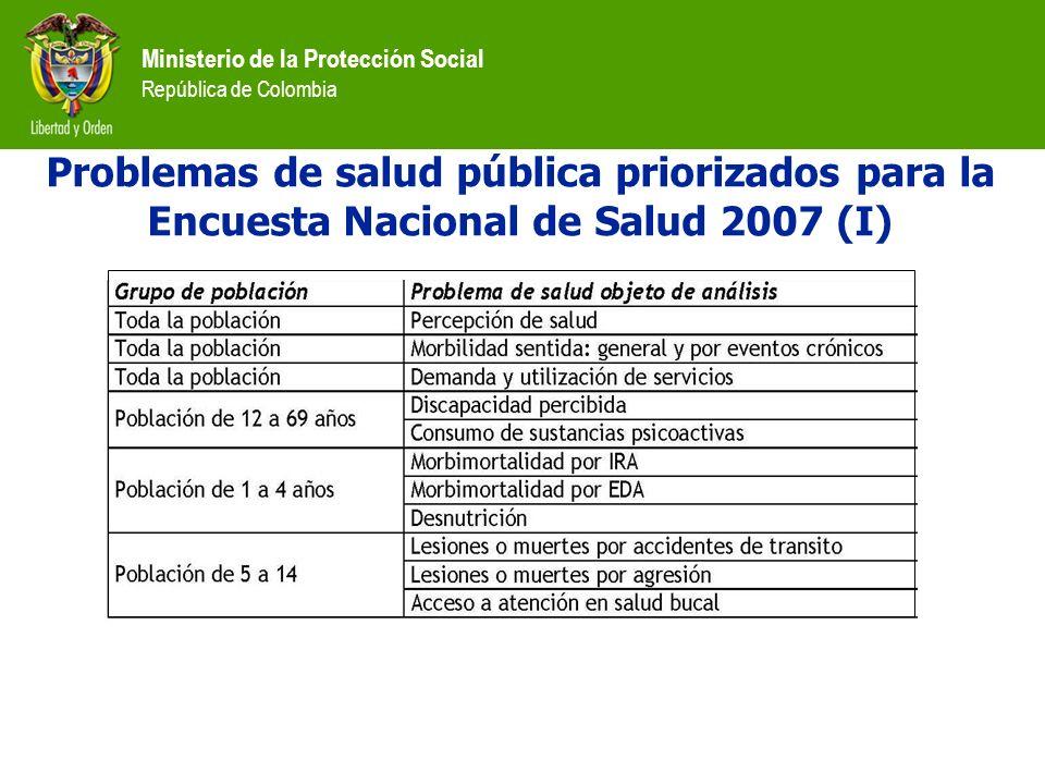 Ministerio de la Protección Social República de Colombia Problemas de salud pública priorizados para la Encuesta Nacional de Salud 2007 (I)