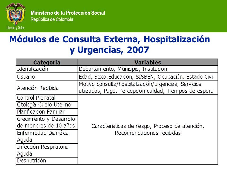 Ministerio de la Protección Social República de Colombia Módulos de Consulta Externa, Hospitalización y Urgencias, 2007