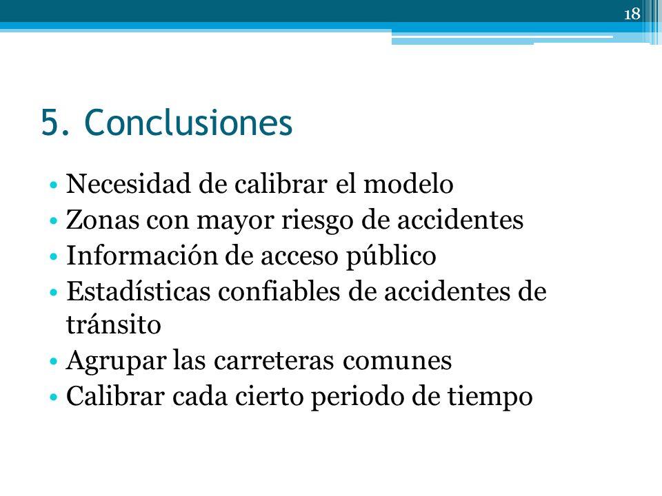 5. Conclusiones Necesidad de calibrar el modelo Zonas con mayor riesgo de accidentes Información de acceso público Estadísticas confiables de accident