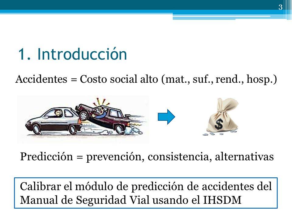 1. Introducción Accidentes = Costo social alto (mat., suf., rend., hosp.) 3 Calibrar el módulo de predicción de accidentes del Manual de Seguridad Via