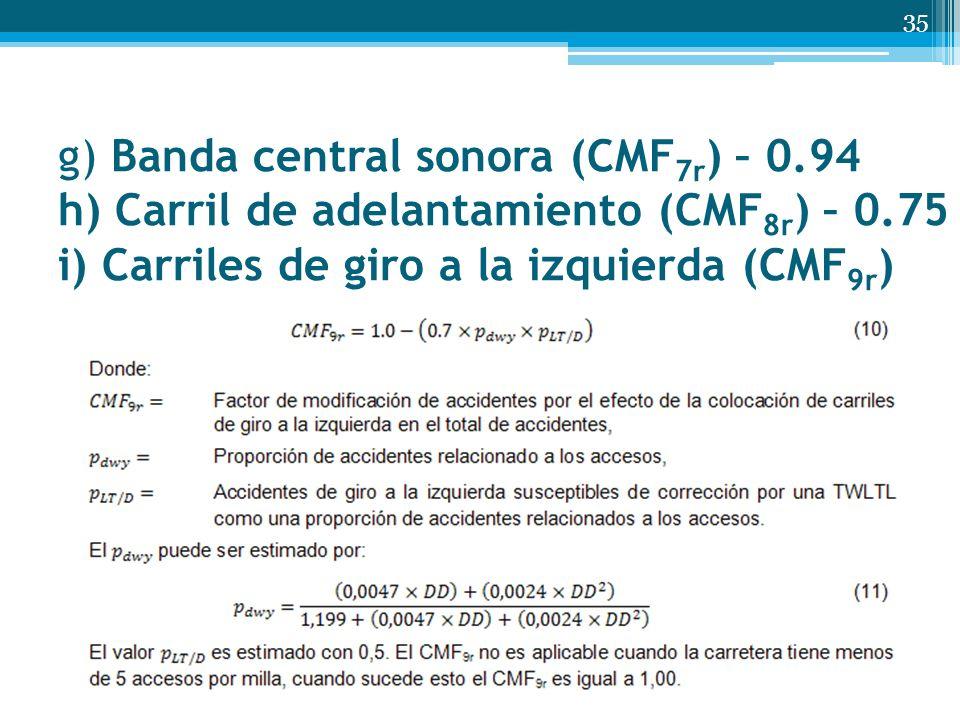 g) Banda central sonora (CMF 7r ) – 0.94 h) Carril de adelantamiento (CMF 8r ) – 0.75 i) Carriles de giro a la izquierda (CMF 9r ) 35