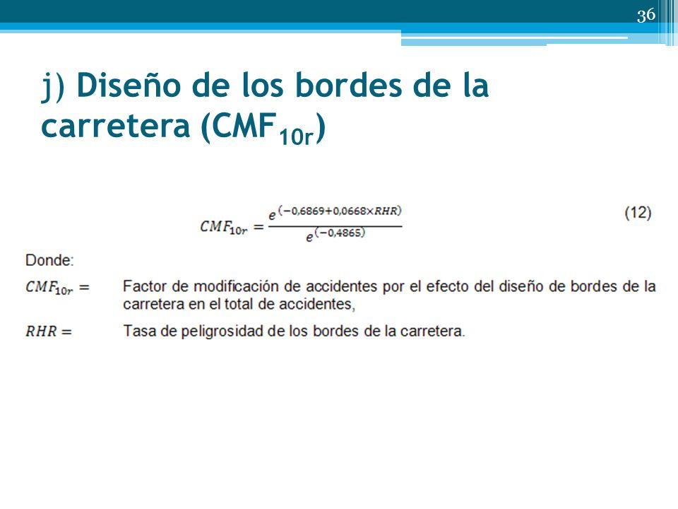 j) Diseño de los bordes de la carretera (CMF 10r ) 36