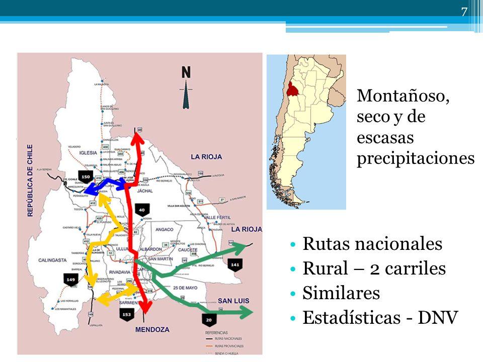7 Montañoso, seco y de escasas precipitaciones Rutas nacionales Rural – 2 carriles Similares Estadísticas - DNV