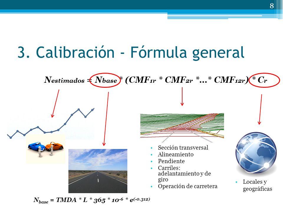 3. Calibración - Fórmula general 8 Sección transversal Alineamiento Pendiente Carriles: adelantamiento y de giro Operación de carretera Locales y geog