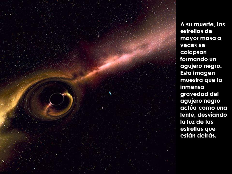 A su muerte, las estrellas de mayor masa a veces se colapsan formando un agujero negro. Esta imagen muestra que la inmensa gravedad del agujero negro