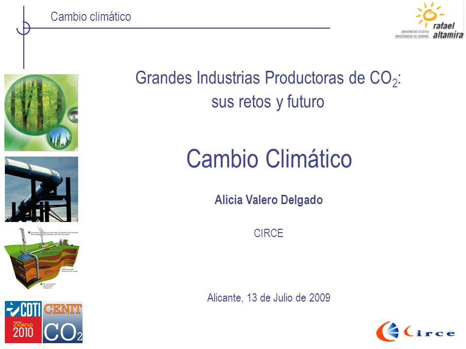 Cambio climático Cambio Climático Grandes Industrias Productoras de CO 2 : sus retos y futuro Alicante, 13 de Julio de 2009 Alicia Valero Delgado CIRC