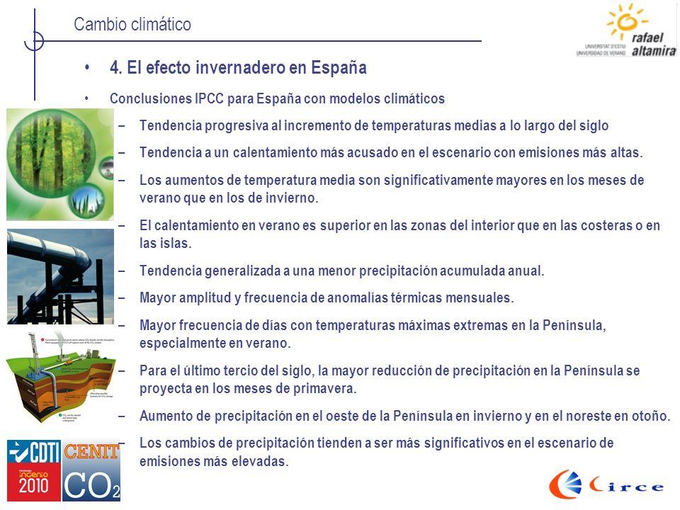 Cambio climático 4. El efecto invernadero en España Conclusiones IPCC para España con modelos climáticos – Tendencia progresiva al incremento de tempe