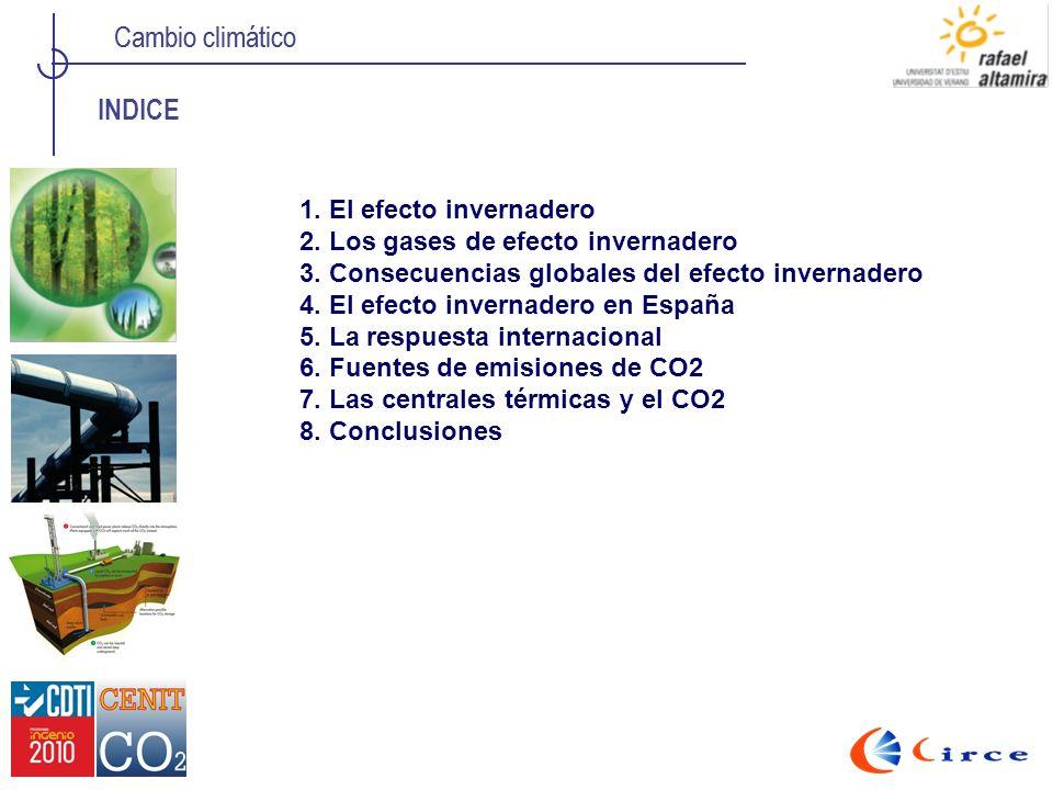 Cambio climático INDICE 1. El efecto invernadero 2. Los gases de efecto invernadero 3. Consecuencias globales del efecto invernadero 4. El efecto inve