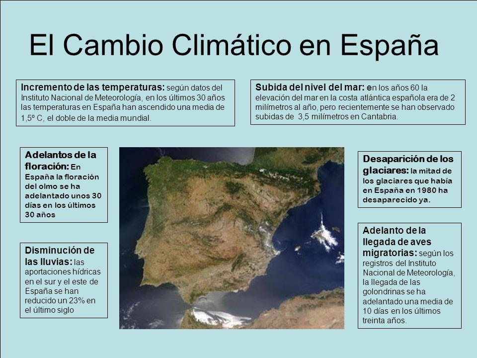 Cambio climático Señales del cambio en España Incremento de las temperaturas: según datos del Instituto Nacional de Meteorología, en los últimos 30 añ