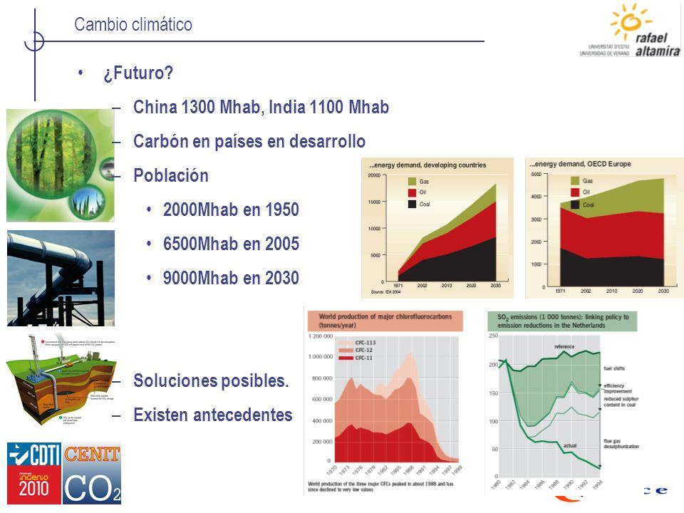 Cambio climático ¿Futuro? – China 1300 Mhab, India 1100 Mhab – Carbón en países en desarrollo – Población 2000Mhab en 1950 6500Mhab en 2005 9000Mhab e