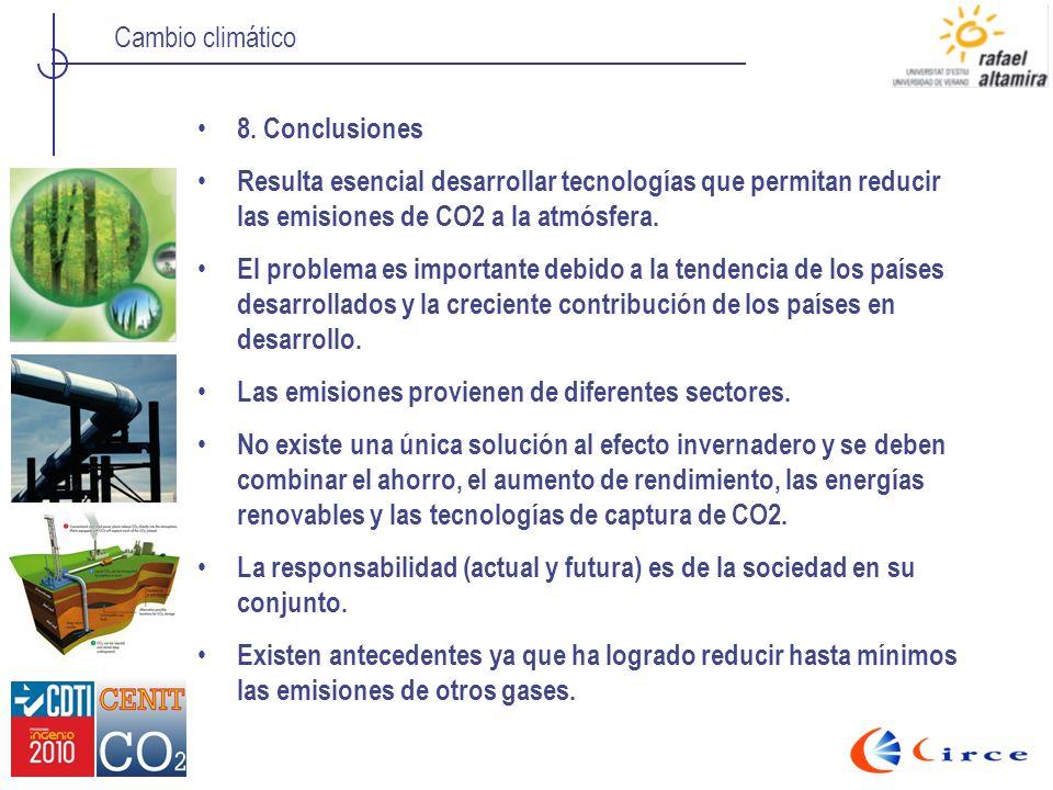 Cambio climático 8. Conclusiones Resulta esencial desarrollar tecnologías que permitan reducir las emisiones de CO2 a la atmósfera. El problema es imp