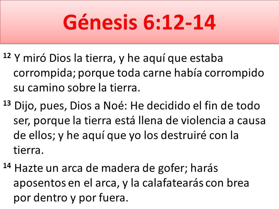 Génesis 6:12-14 12 Y miró Dios la tierra, y he aquí que estaba corrompida; porque toda carne había corrompido su camino sobre la tierra. 13 Dijo, pues