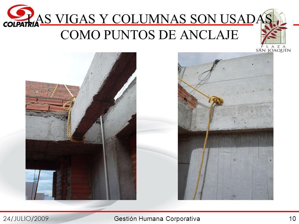 Gestión Humana Corporativa 24/JULIO/2009 10 LAS VIGAS Y COLUMNAS SON USADAS COMO PUNTOS DE ANCLAJE