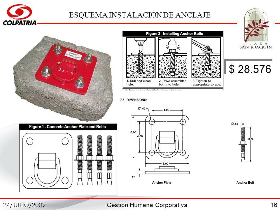 Gestión Humana Corporativa 24/JULIO/2009 16 ESQUEMA INSTALACION DE ANCLAJE $ 28.576
