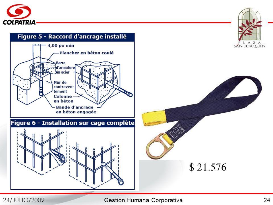 Gestión Humana Corporativa 24/JULIO/2009 24 $ 21.576