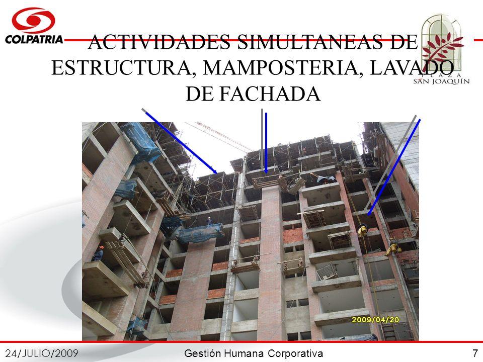 Gestión Humana Corporativa 24/JULIO/2009 7 ACTIVIDADES SIMULTANEAS DE ESTRUCTURA, MAMPOSTERIA, LAVADO DE FACHADA