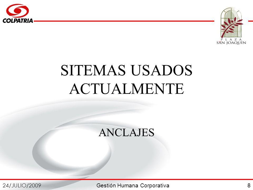 Gestión Humana Corporativa 24/JULIO/2009 8 SITEMAS USADOS ACTUALMENTE ANCLAJES