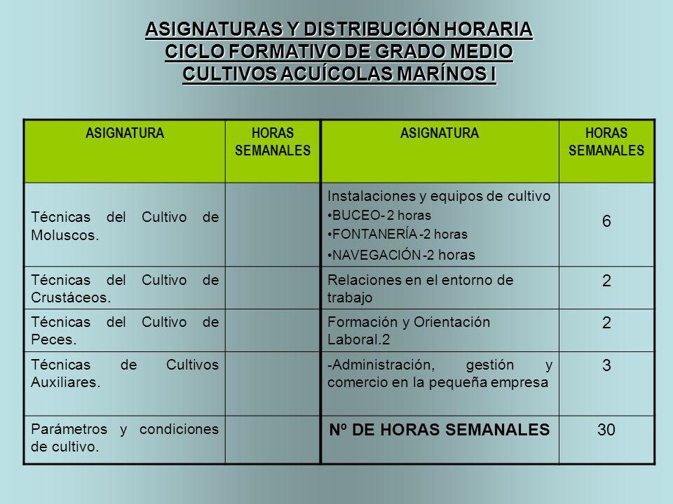 ASIGNATURAHORAS SEMANALES ASIGNATURAHORAS SEMANALES Técnicas del Cultivo de Moluscos. Instalaciones y equipos de cultivo BUCEO- 2 horas FONTANERÍA -2