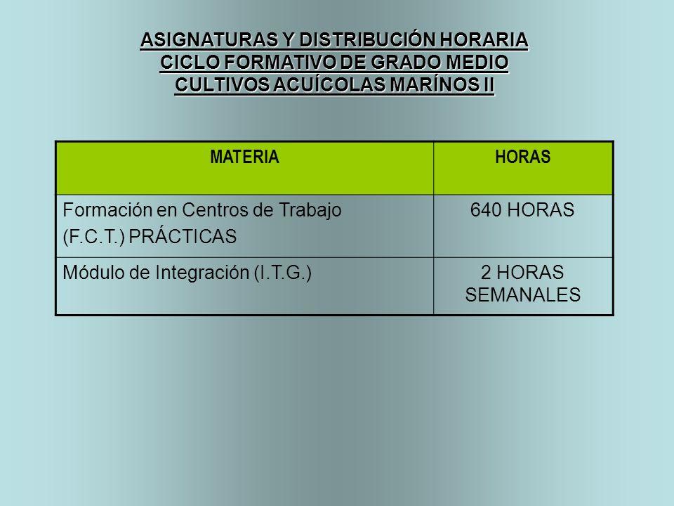 ASIGNATURAS Y DISTRIBUCIÓN HORARIA CICLO FORMATIVO DE GRADO MEDIO CULTIVOS ACUÍCOLAS MARÍNOS II MATERIAHORAS Formación en Centros de Trabajo (F.C.T.)