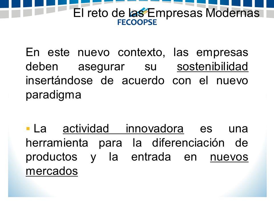 En este nuevo contexto, las empresas deben asegurar su sostenibilidad insertándose de acuerdo con el nuevo paradigma La actividad innovadora es una he