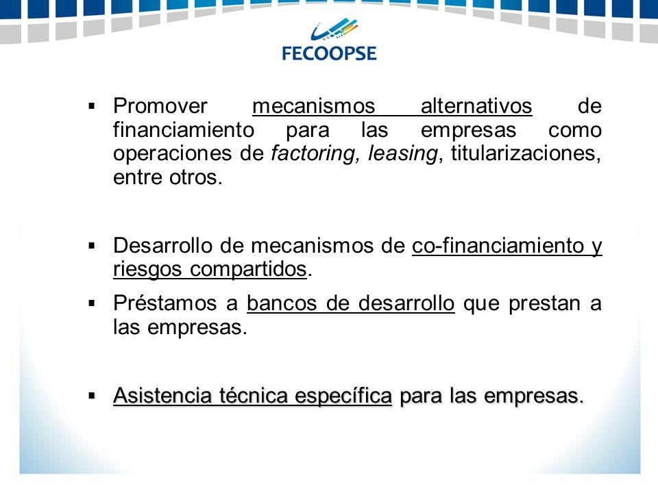 Promover mecanismos alternativos de financiamiento para las empresas como operaciones de factoring, leasing, titularizaciones, entre otros. Desarrollo