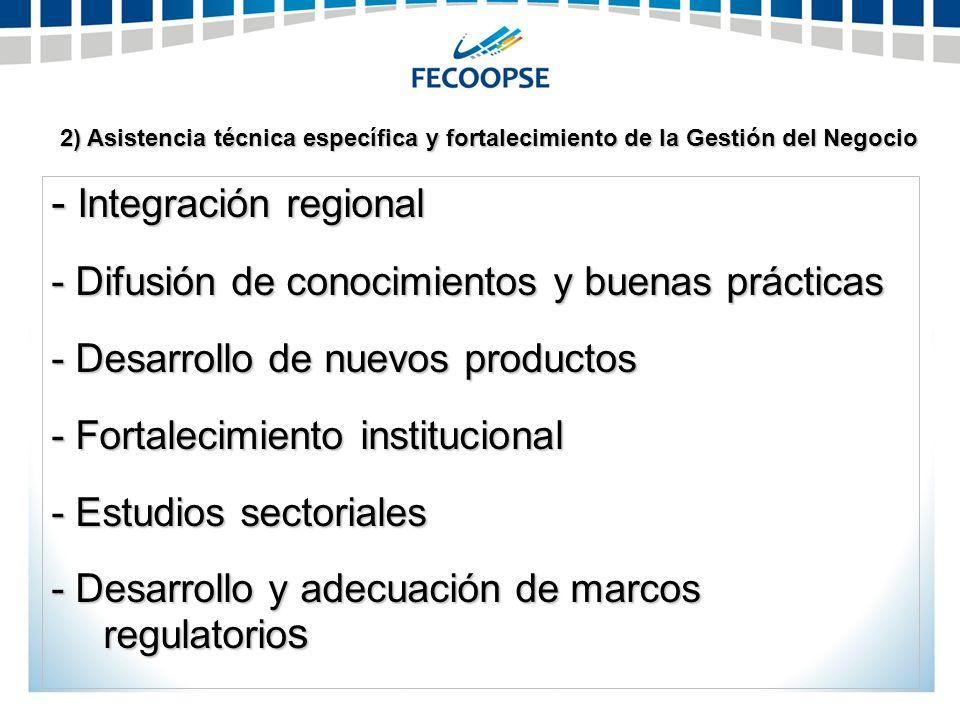 2) Asistencia técnica específica y fortalecimiento de la Gestión del Negocio - Integración regional - Difusión de conocimientos y buenas prácticas - D
