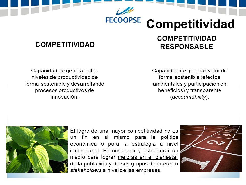 Competitividad El logro de una mayor competitividad no es un fin en si mismo para la política económica o para la estrategia a nivel empresarial. Es c