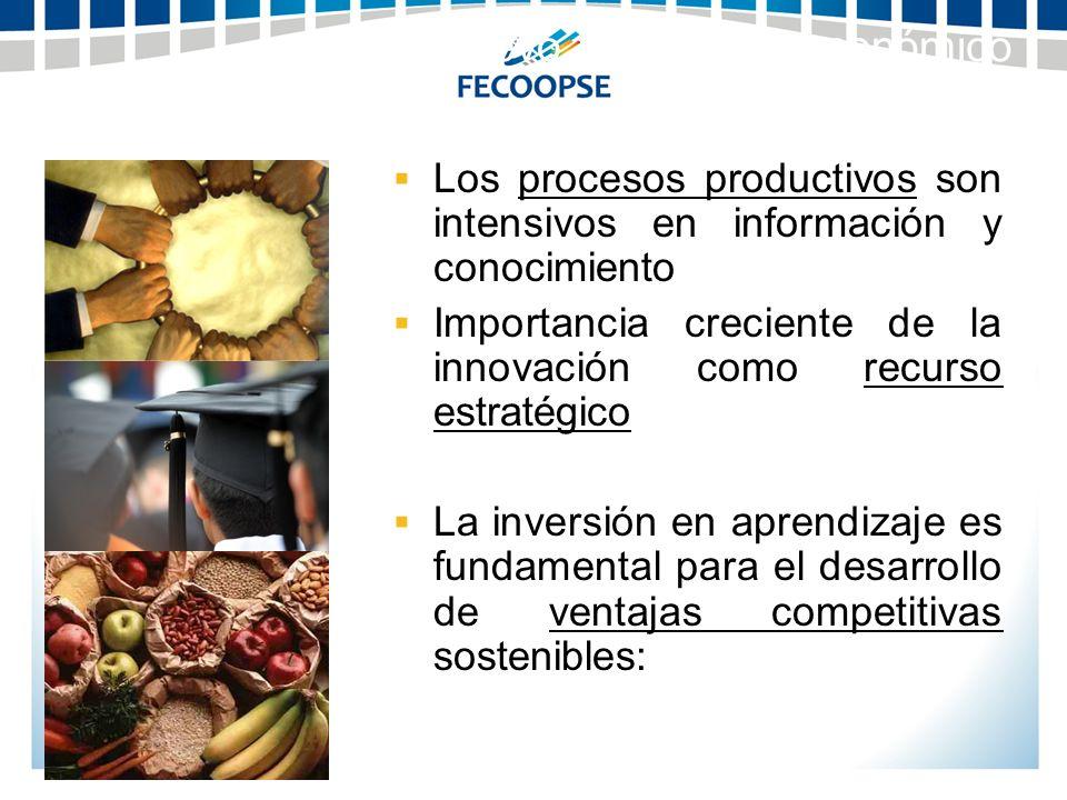 Los procesos productivos son intensivos en información y conocimiento Importancia creciente de la innovación como recurso estratégico La inversión en