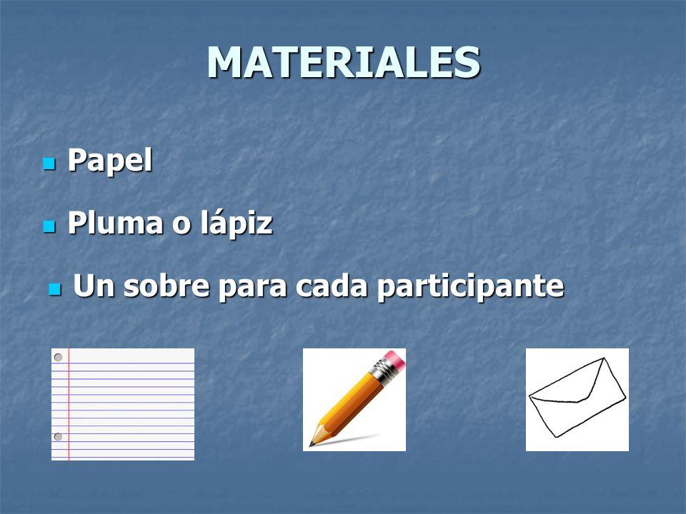 MATERIALES Papel Pluma o lápiz Un sobre para cada participante
