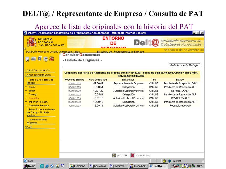 DELT@ / Representante de Empresa / Consulta de PAT Aparece la lista de originales con la historia del PAT