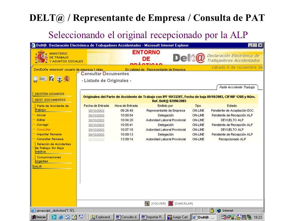DELT@ / Representante de Empresa / Consulta de PAT Seleccionando el original recepcionado por la ALP