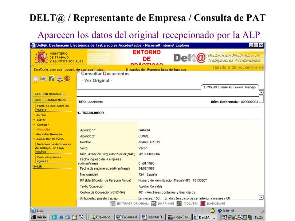 DELT@ / Representante de Empresa / Consulta de PAT Aparecen los datos del original recepcionado por la ALP