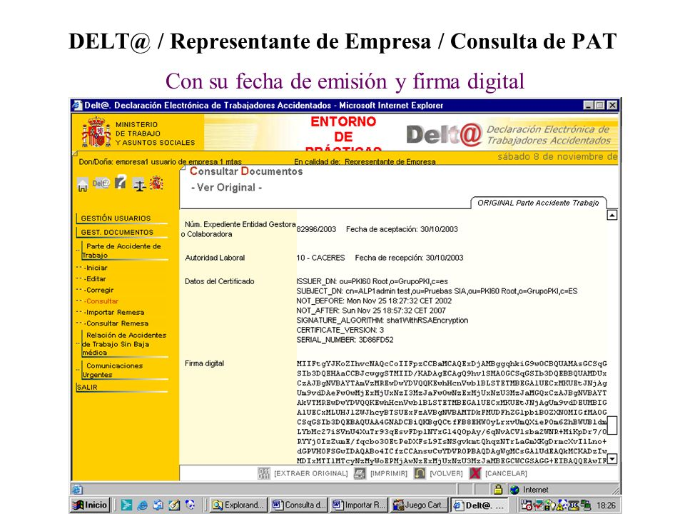 DELT@ / Representante de Empresa / Consulta de PAT Con su fecha de emisión y firma digital
