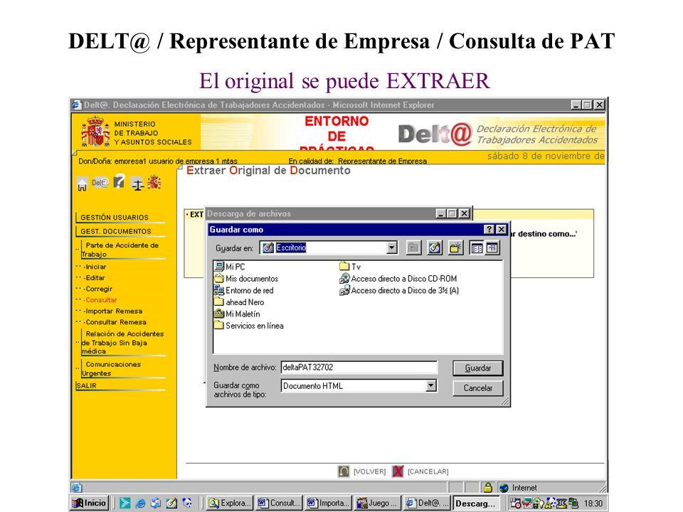 DELT@ / Representante de Empresa / Consulta de PAT El original se puede EXTRAER