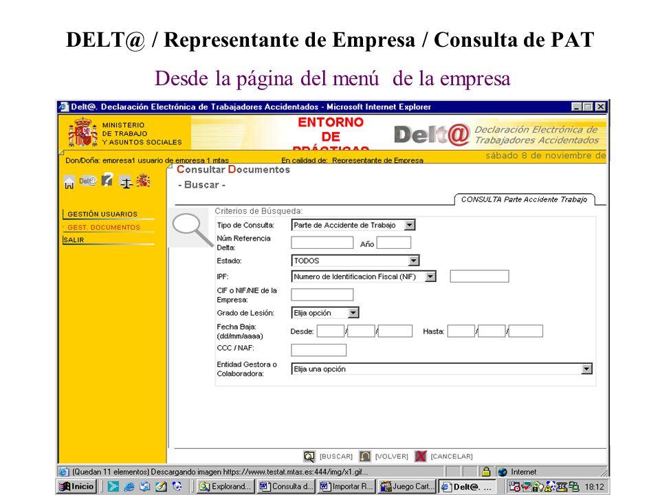 DELT@ / Representante de Empresa / Consulta de PAT Desde la página del menú de la empresa